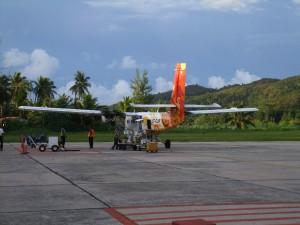 Flygplan på Praslin Seychellerna