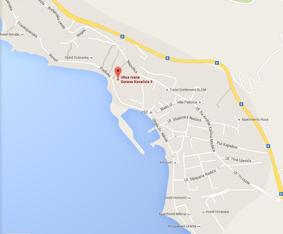 Villa Gradina Baska Voda karta