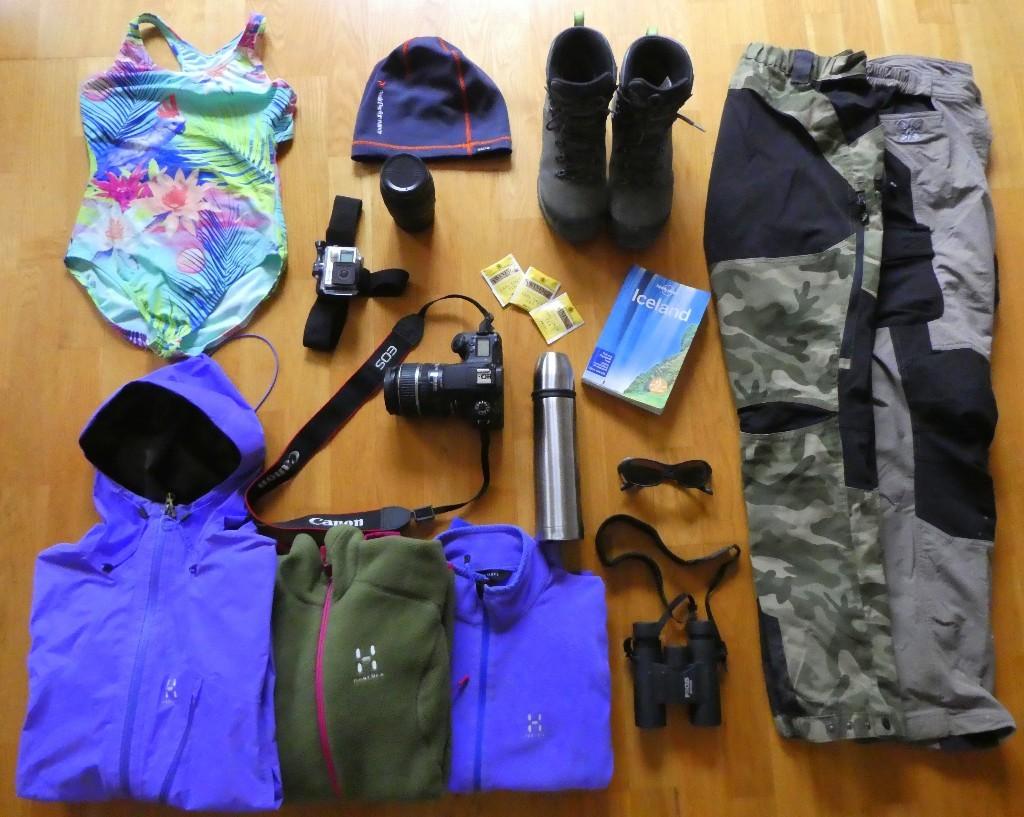 att packa för Island