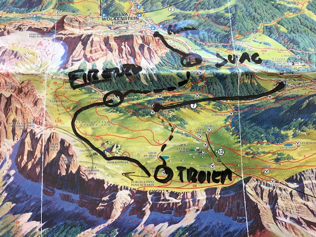 Vandring i Dolomiterna: Rifugio Troier, Forcella Pana, Rifugio Firenze