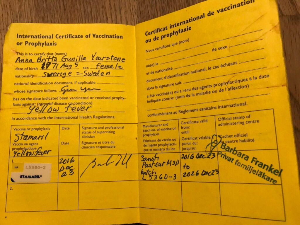 visum till Uganda gula febern vaccin
