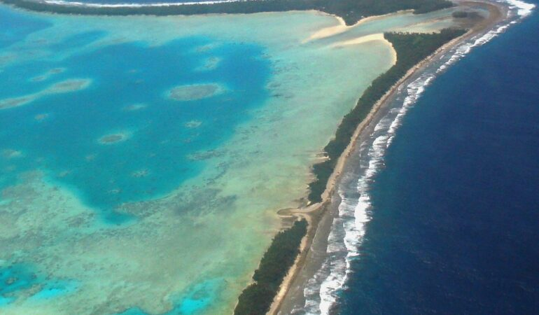 Aerial view of Tuvalu's capital, Funafuti, 2011. Tuvalu is a remote country of low lying atolls, making it vulnerable to climate change. Photo: Lily-Anne Homasi / DFAT