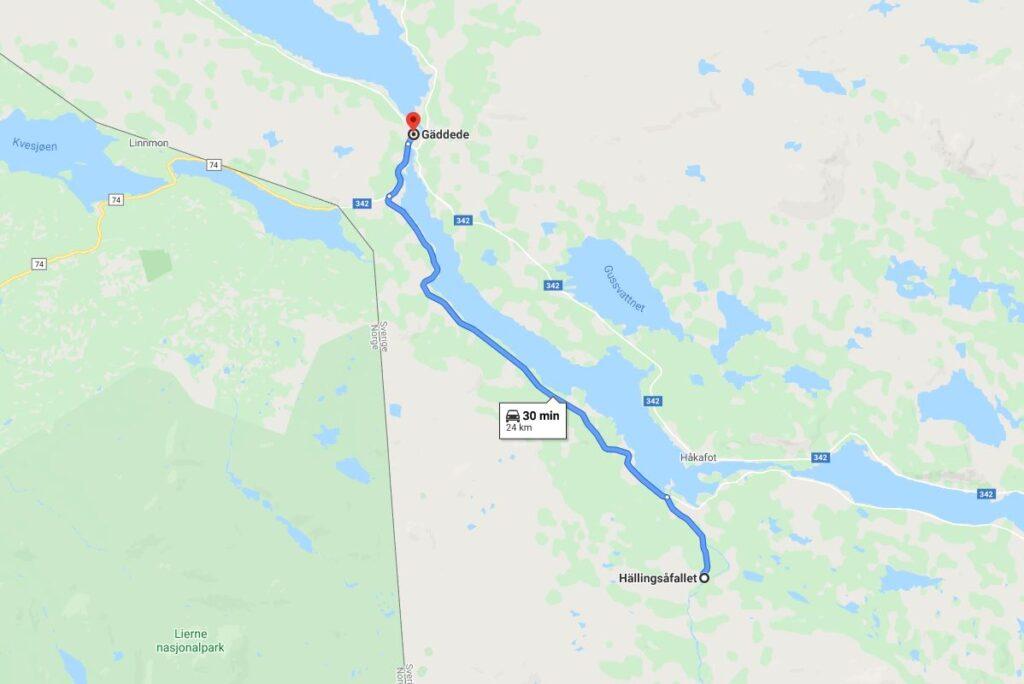 Hällingsåfallet karta vägbeskrivning