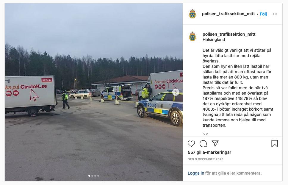 Polisen stoppar lätta lastbilar